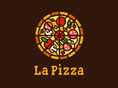 La Pizza delivery wheel italian food italia vitrage stained-glass window pizzeria pizza logo