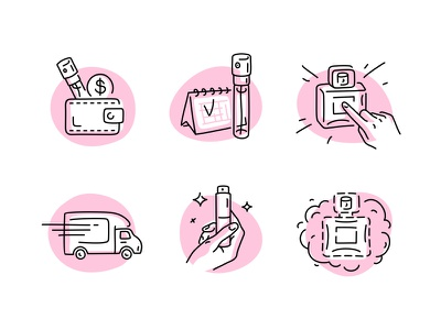 Scentbird Icons graphic line art icon set iconography line vector fourhands stroke scentbird illustrations icons