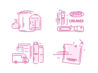 Presentation Icons delivery manufacture vector presentation perfume illustration icons design