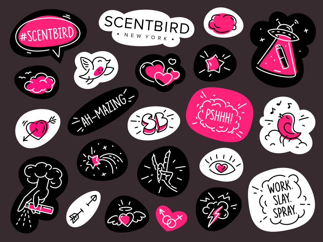 Sticker pack scent aroma fragrance perfume sticker line linework branding character scentbird bird four hands sticker