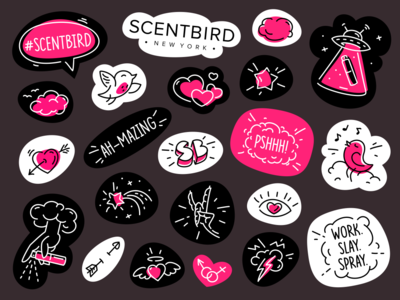 Sticker pack scent aroma fragrance perfume sticker line linework branding character scentbird bird four hands sticker design sticker pack sticker set vector illustration