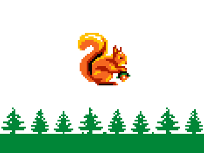 Squirrel mascot animal fourhands fir spruce nut squirrel forest character pixel 8bit pixel art illustration icon