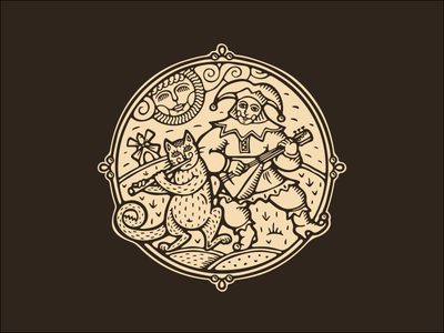 logo lubok balalaika cat buffoon russian russia lubok character retro vintage woodcut engraving badge branding fourhands vector logo illustration logotype