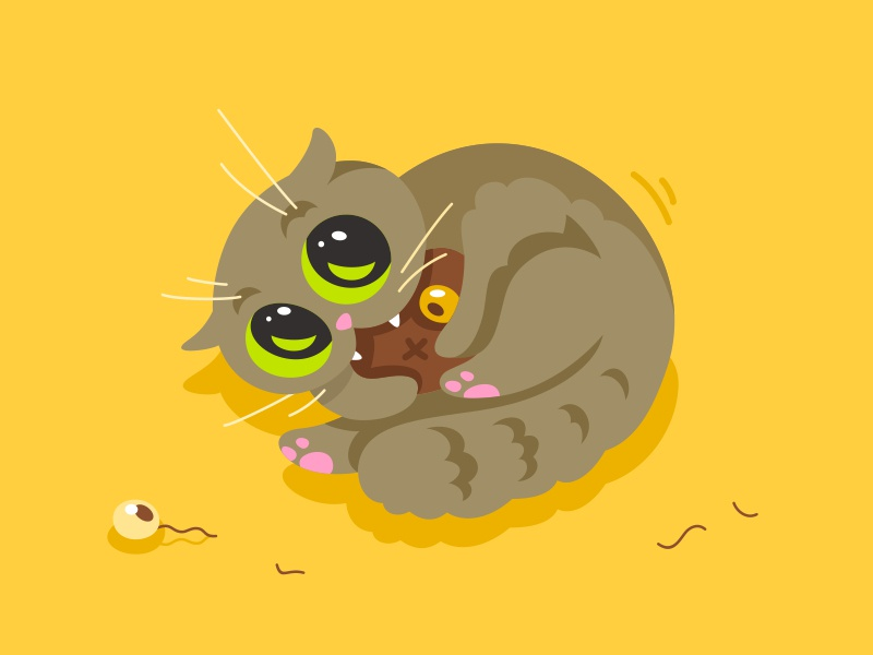 Cat fourhandsdesign vector character design funny mascot playful happy cute animal character pussycat cartoon cat kitty fourhands illustration