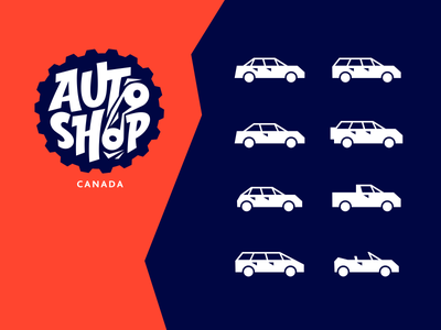car body type icons graphic auto parts automotive car shop car body cars mark auto shop auto car illustration vector lettering branding icons fourhands logo