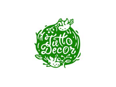 Tutto Decor lettering character nest floristic egg design decoration fourhands branding bird mark illustration logo logotype