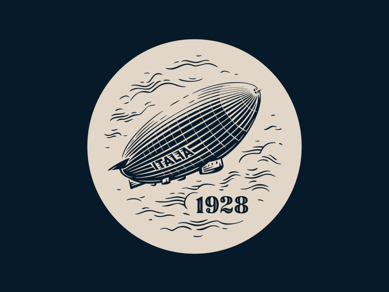 Italia 1928 air italia icon badge clouds vector fourhands illustration airship watch