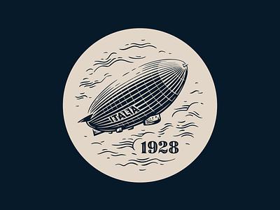 Italia 1928 air italia icon badge clouds vector fourhands illustration airship watch