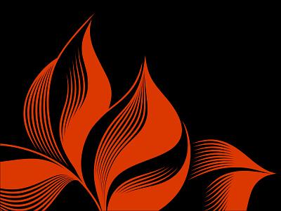 DoS pattern plants leaf petals leaves lines fire flower packaging pattern vector fourhands illustration