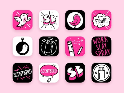App Icon Options app icon logotype illustration vector bird branding icons scentbird fragrance fourhands character perfume typography stroke sign mark line