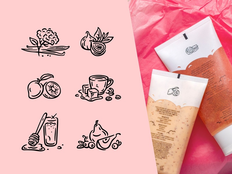 illustrations scent perfume packaging package design notes cream fragrance icons branding vector fourhands illustration