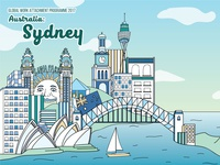 Sydney travel austria book cover illustration design