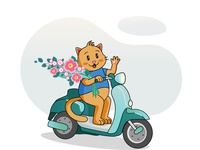 Cat On A Moped