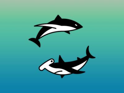 Sharks geometric tattoo marine aquatic sea ocean hammerhead great white shark