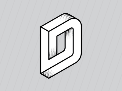 Impossible D penrose illusion illustration icon letter impossible