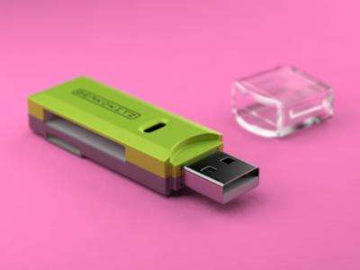 SD Card Reader usb electronic gadget device tech lighting render model 3d