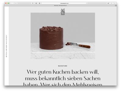 Mehlspeisenfraeulein Website preview cake branding baker minimal screen design screen web website