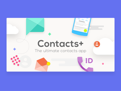 Contacts+ Feature Graphic design app ui  ux caller id banner contacts plus contacts google play feature graphic