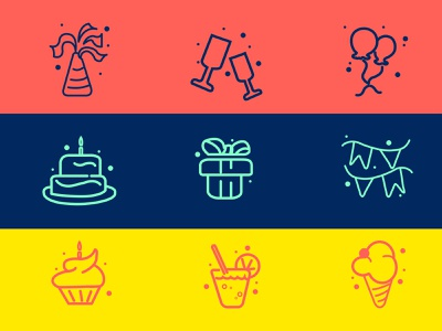 Party Icon Set icon set party hat party icon