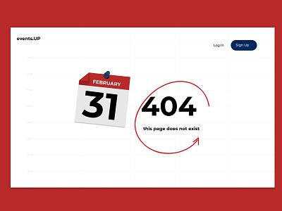 Daily UI challenge #008 — 404 Page 404-error calendar app error 404 404 dailyui008 dailyui