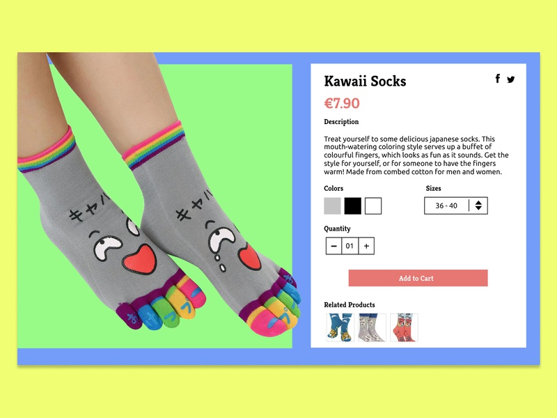 Daily UI Challenge #012 - E-Commerce Shop (Single Item) colorfull color blocking socks shop ecommerce dailyui012 daily daily 100 dailyui