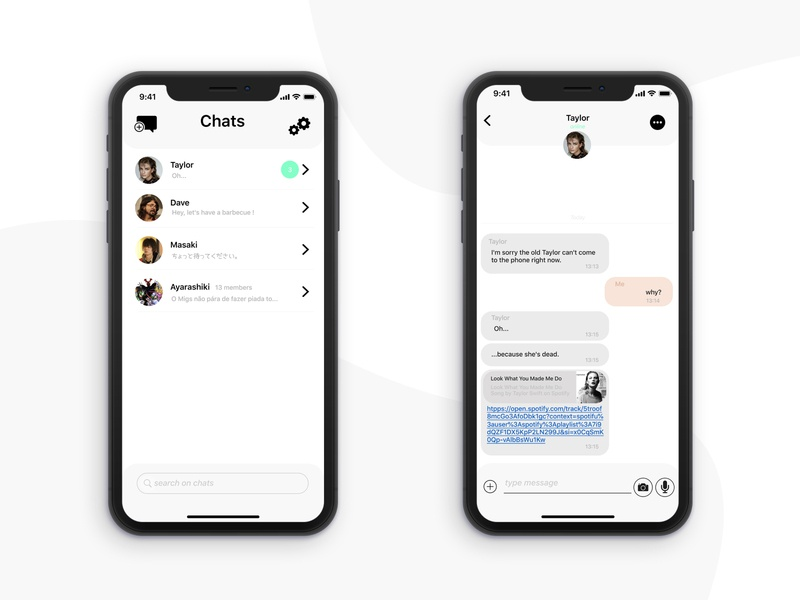 Daily UI Challenge #013 - Direct Messaging black  white chat bubble chat app message app messager dailyui013 dailui daily