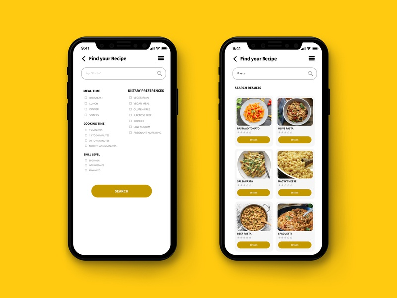 Daily UI Challenge #022 - Search recipes recipe app food and drink food app ui food app search dailyui 022 dailyui daily