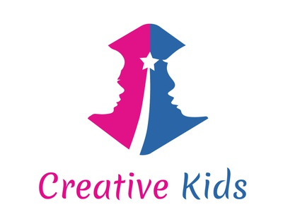 creative kids games competition challenge victory star blue creativity kids illustration attractive color typography modern flat simplicity logo beautiful design