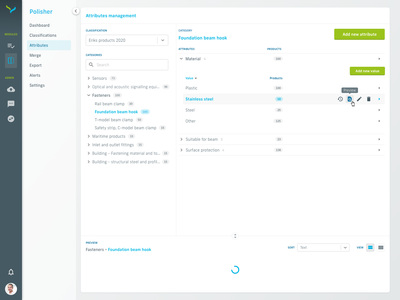 Classification attributes management system admin panel admin tree classification treeview ui design dashboard