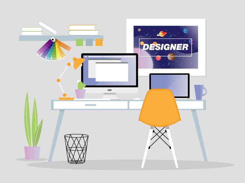 Designer Workspace interior business web office computer desk table creative vector illustration art colors monitors poster workspace designer workspace designers vector art georgia designer illustration