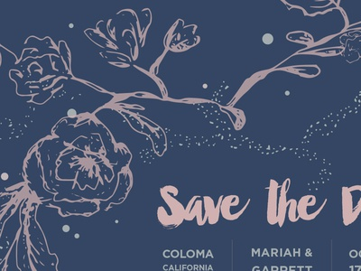 Save the Date brush script hand drawn floral save the date invite wedding