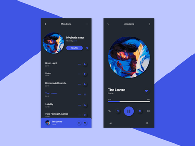 Daily UI #009 — Music Player android ios dark mode neumorphism blue figma music player ui daily ui 009 009 daily ui mobile music app music player