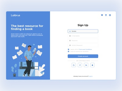 Daily UI #001 - Sign Up Page web design books vector flat figma blue daily ui 001 dailyui sign up ui log in sign up