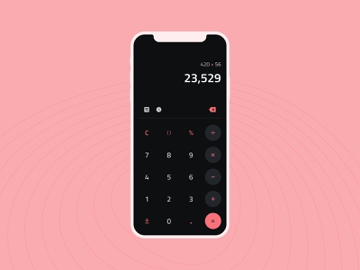 Daily UI #004 - Calculator flat ios pink minimal mobile dark mode calculator daily ui 004 daily ui