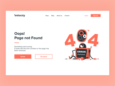 Daily UI #008 — 404 Page: Redesign daily ui orange illustration flat clean web design desktop daily ui 008 404 404 page