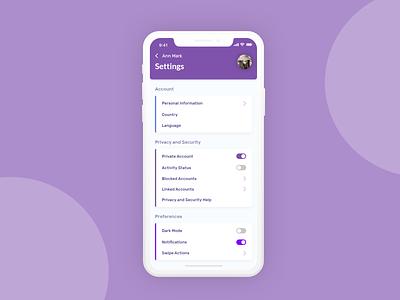 Daily UI #007 — Settings iphone color scheme violet purple daily ui mobile dailyui 008 design settings page social media settings web design mobile app adobe xd dailyui ui