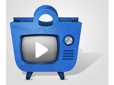 Shoppertube Logo logo shoppertube shopping bag retro tv tv old tv play button videos reviews
