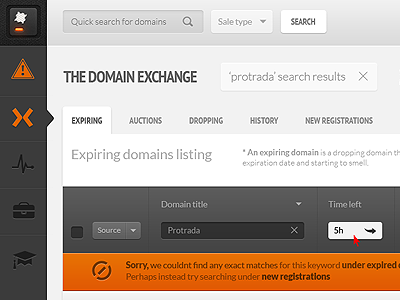 New UI project WIP... touch ready app protrada domain exchange search ui