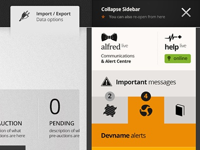 V3 - Alfred-live Sidebar alert centre alerts alfred protrada sidebar custom scrollbars