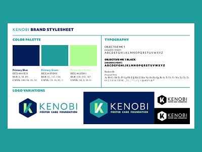 Kenobi Foundation - Brand Stylesheet concept kenobi cheat sheet brand guide style guide style sheet brand sheet stylesheet variations logo variations hierarchy typography color system color palette delt logo design branding logo graphic design design