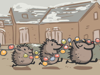 Christmas Card card design cute illustration porcupine christmas