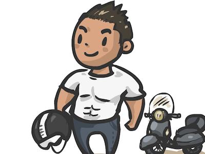 Coworker Illustration pastel caricature vector illustration