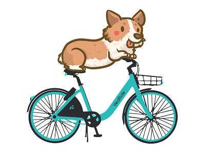 Corgi Bike brand vector illustration illustrator dog corgi