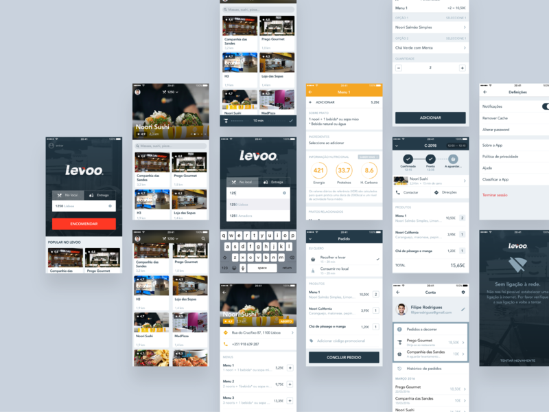 Levoo ios food delivery mobile ui design
