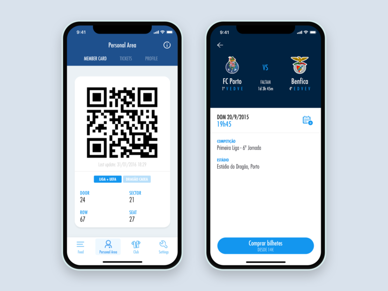 FC Porto Official App app ui ux mobile ui design club soccer football