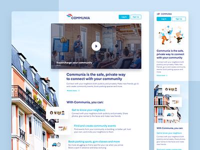 Communia - Local Social Network concept community social network web responsive ui design