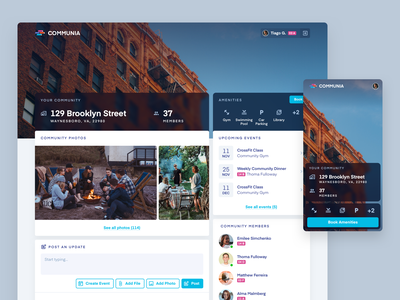 Communia - Local Social Network concept web responsive social network community ui design