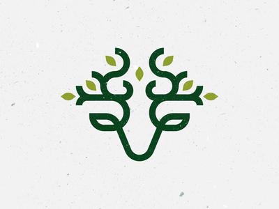 🍃 + 🦌 logo design concept.