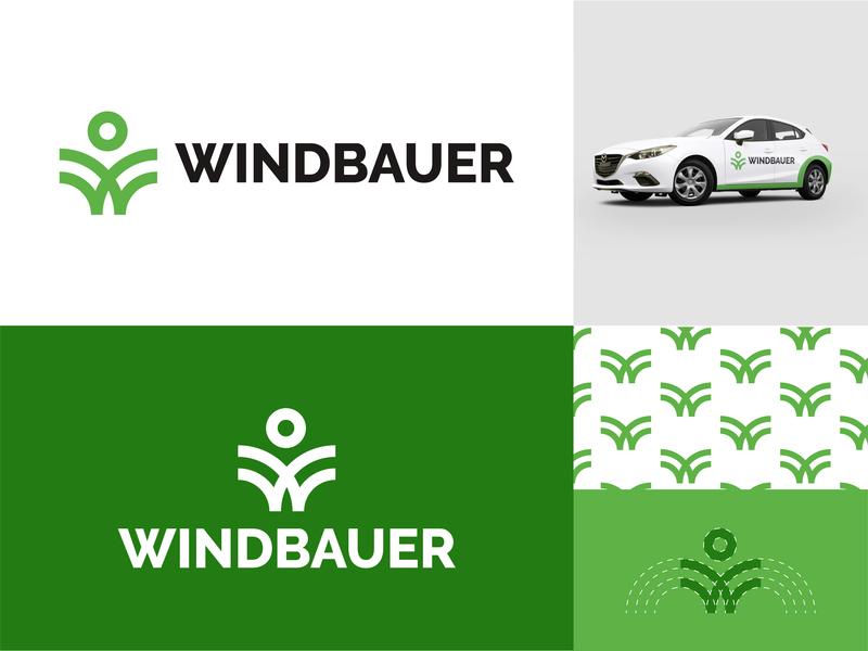 Windbauer logo design branding designer design logo green branding green logo car app car windmills wind