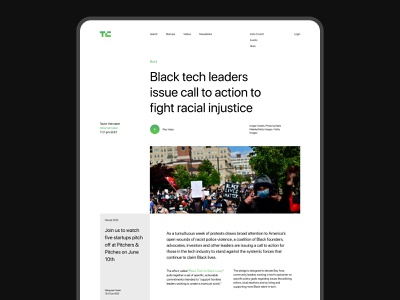 TechCrunch article (free figma–template) article free template grid website